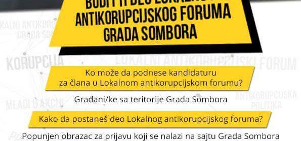 Sombor poziva građane da se priključe antikorupcijskom forumu